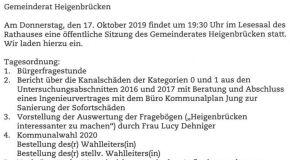 Tagesordnung vom 17. Oktober