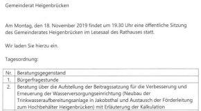 Tagesordnung 18. November 2019